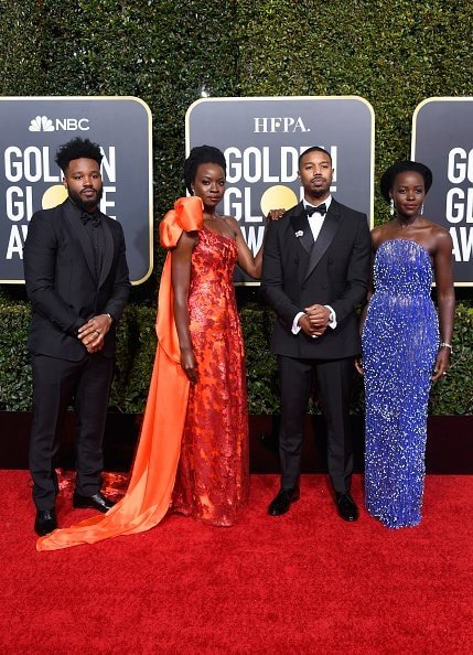 BEVERLY HILLS, CA - JANUARY 06:  (L-R) Ryan Coogler, Danai Gurira, Michael B. Jordan, and Lupita Nyong'o attend the 76th Annual Golden Globe Awards at The Beverly Hilton Hotel on January 6, 2019 in Beverly Hills, California.  (Photo by Frazer Harrison/Getty Images)